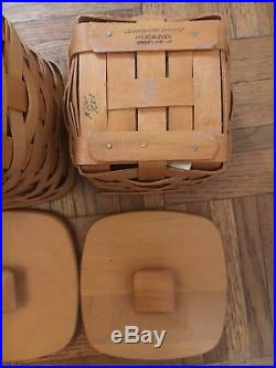 Longaberger Basket Set of 4 with Protectors and Lids Pre Owned