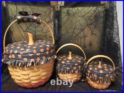 Longaberger Baskets 1996-1997 Halloween Baskets Set Of 3 Combo