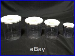 Longaberger Baskets, Fabric Liners, & Clear Kitchen Storage Canisters (Set of 4)