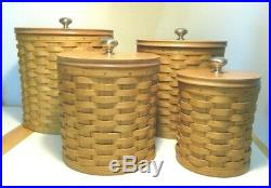 Longaberger Baskets Set of 4 Canisters (4) Liners and (2) Sealing Lids 2004/2005