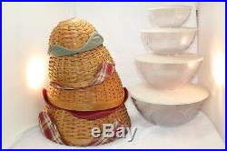 Longaberger Bowl Baskets with Liners, Cover bowls Set of 4