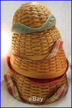 Longaberger Bowl Baskets with protectors Set of Four 7, 9, 11, 13