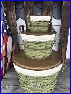 Longaberger Bushel Basket Sets Large Med Small Sage. Full Sets