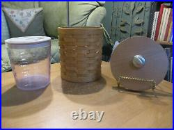 Longaberger CANISTER SET with Protectors Ivy Liners Rectangle Pewter Tie Ons