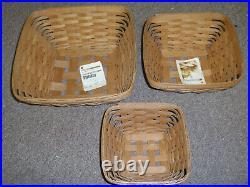Longaberger CONTOUR FLARE BASKETS & BOWLS (Set 0f 3), SM, Med, Lg.  Pre-Owned