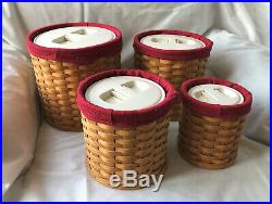 Longaberger Canister (4) Set With Sealed Plastic Inserts withlids & cloth inserts