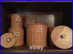 Longaberger Canister Basket Set(4), Maple Wood Lids, Pewter Knobs, plastic Inserts