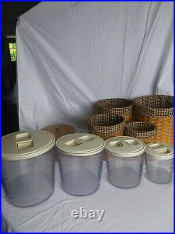 Longaberger Canister Basket Set with Plastic Container Liners