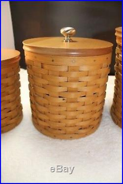 Longaberger Canister Set 2003 Woodcraft Lids, Sealable Containers Retired