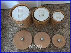 Longaberger Canister Set 3 Baskets Woodcraft Wood Lids & Inserts