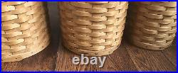 Longaberger Canister Set 4 Basket With Wood Lids And Protectors