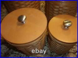 Longaberger Canister Set 4 Baskets With Wood LID And 2pc Inserts