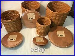 Longaberger Cannister Basket Set with Plastic Inserts and Lids Set of 4
