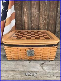 Longaberger Checkerboard Chess Games Basket Set
