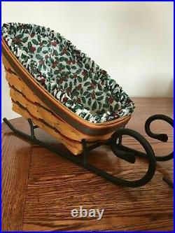 Longaberger Christmas Sleigh Basket Sets. 3 Baskets. 3 Wrought Iron Runners Mint