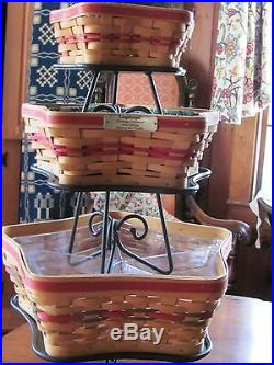 Longaberger Christmas Star Basket Set Trio, Liners, Protectors Wrought Iron Stand