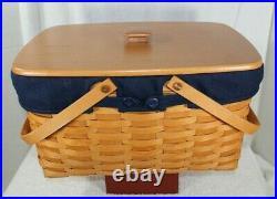 Longaberger Classic Large Market Basket Set With Lid, 2 Pc. Protector & Liner 2002