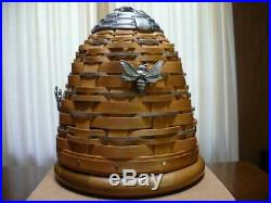 Longaberger Collector's Club Bee Hive Basket Set with 3 Pewter Bee Charms NIB VHTF