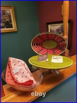 Longaberger Collectors Club 2010 Large Watermelon Basket Combo Set EUC