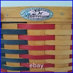 Longaberger Collectors Club 25th Anniversary Flag Basket Set+Liner+Box+Prod Card
