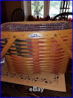 Longaberger Collectors Club 25th Anniversary Flag/magazine Basket Set Complete