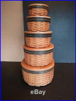Longaberger Collectors Club Harmony Stacking Baskets Lids Protectors (Set of 5)
