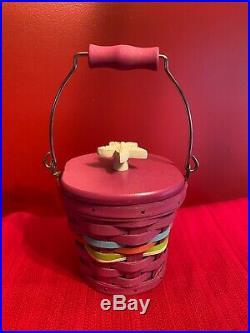 Longaberger Collectors Club Magenta Small Pail Basket Set Rare