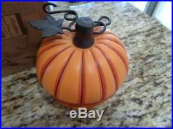 Longaberger Collectors Club Pumpkin Basket Set Pottery LID Iron Stem-awesome