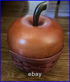 Longaberger Collectors Club Red Apple Basket Set 2007 RARE With Plastic Liner