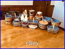 Longaberger Complete J. W. Miniature Basket Set, Miniature Pottery and Accessories