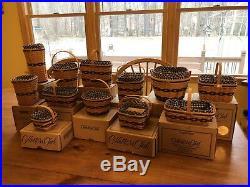 Longaberger Complete Set 12 Collectors Club JW MINIATURE BASKETS with Boxes & More