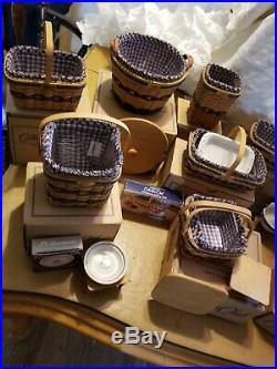 Longaberger Complete Set 12 Collectors Club JW Miniature Baskets withExtras