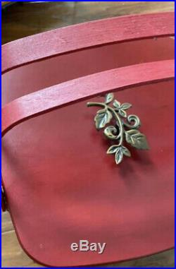 Longaberger Crimson Hill Cake Basket Set with Rare Bronze Leaf Handle