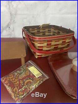 Longaberger Crimson Hill Cake Basket Set with Rare Bronze Leaf Handle NEW