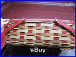 Longaberger Crimson Hill Long Market Basket Set with Lid