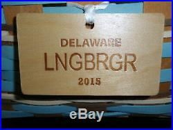 Longaberger DELAWARE STATE CAKE BASKET SET, With Riser, Protector & Tie-On NEW