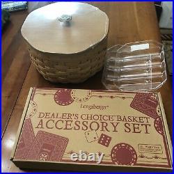 Longaberger Dealers Choice Basket Set With Game Piece Set -new