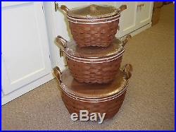 Longaberger EXTREMELY RARE, Set of 3, SPECIAL DESIGNED AMERICAN WORK BASKETS NEW