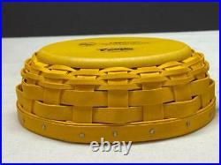 Longaberger Easter 2012 Yellow Peeps Pottery Basket Set Mint