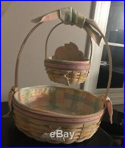 Longaberger Easter Basket Large And Small Combo Set Hang Tags And Bunny Divider