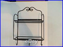 Longaberger Envelope Wrought Iron Mail Center Rack Baskets Lids Tie-on Rare set