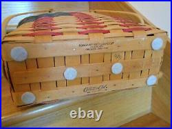 Longaberger Flag Magazine Basket Super Set Custom Lid C Club shipping included