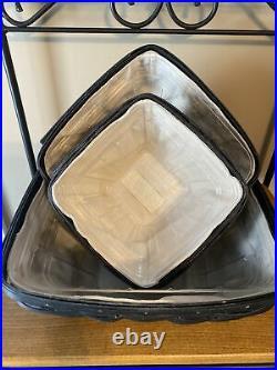 Longaberger Flare basket complete set BLACK STAIN FREE SHIPPING