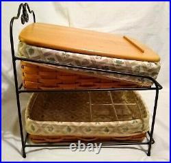 Longaberger Foundry Wrought Iron Basket Set Paper Tray Two Tier Desk Organizer