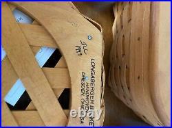 Longaberger Generations Basket Set of 5 with Lids & larger basket fabric inserts