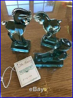 Longaberger Green Heisey Horse Set/3 Colts. Heisey Family Signature On Tag