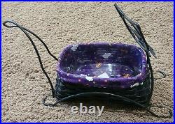Longaberger Halloween Black Cat Basket & Wrought Iron Stand Set Liner Protector