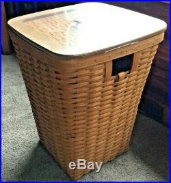 Longaberger Hamper Basket with Woven Lid, Protector, & Liner Set- Brand New