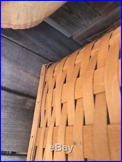 Longaberger Holds It All Hamper Set Basket, Lid, Liner Protector