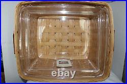 Longaberger Host File Basket, Two Protectors, Huge Set, Card, Leather Handles